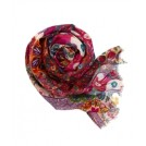 Creative Contrast Scarf -  TOLANI Floral Patterned Scarf in Fuschia