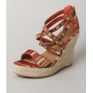 Ko Fashion Wedges -  Ko Fashion Lami Orange /red Aztec - Women Sandals