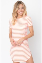 Neon coral hem tee dress - My look
