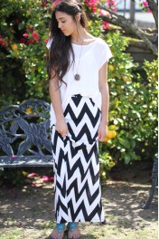 chevron maxi skirt - My look