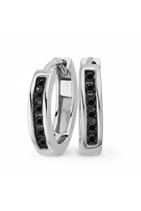 D-GOLD Earrings -  10KT White Gold Round Diamond Black Hoop Earring (1/10 cttw)