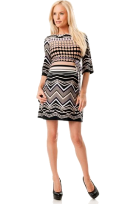 Donna Morgan Dresses -  A Pea in the Pod: Donna Morgan 3/4 Sleeve Sash Belt Maternity Dress Multi Print