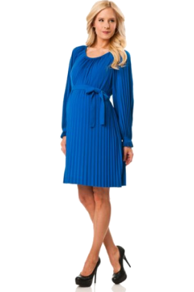Donna Morgan Dresses -  A Pea in the Pod: Donna Morgan Long Sleeve Pleated Maternity Dress Sapphire Blue