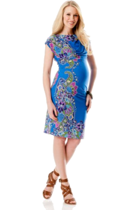 Donna Morgan Dresses -  A Pea in the Pod: Donna Morgan Short Sleeve Paisley Print Maternity Dress Paisley Print