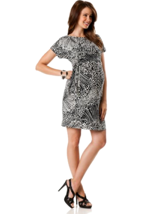 Donna Morgan Haljine -  A Pea in the Pod: Donna Morgan Short Sleeve Tie Detail Maternity Dress Black Print