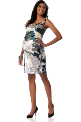 Donna Morgan Dresses -  A Pea in the Pod: Donna Morgan Sleeveless Empire Waist Maternity Dress Blue Floral Print