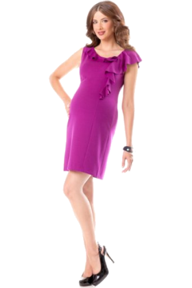 Donna Morgan Dresses -  A Pea in the Pod: Donna Morgan Sleeveless Ruffle Front Maternity Dress Plum
