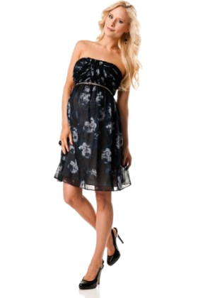 Donna Morgan Dresses -  A Pea in the Pod Collection: Donna Morgan Strapless Babydoll Maternity Dress Abtract Floral Print