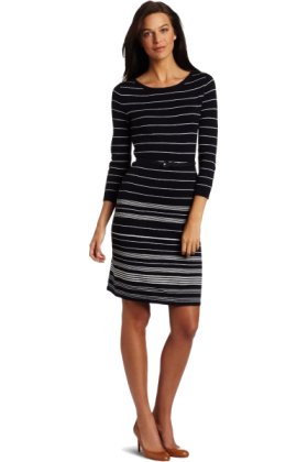 AK Anne Klein Dresses -  AK Anne Klein Women's 3/4 Sleeve Placement Stripe Dress Midnight Sky