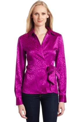 AK Anne Klein Long sleeves shirts -  AK Anne Klein Women's Animal Jacquard Wrap Blouse Raisin