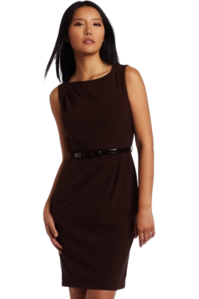 AK Anne Klein Dresses -  AK Anne Klein Women's Asymmetrical Neck Belted Sheath Dress Mahogany