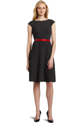 AK Anne Klein Dresses -  AK Anne Klein Women's Classic Dot Jersey Swing Dress With Belt Black/ivory