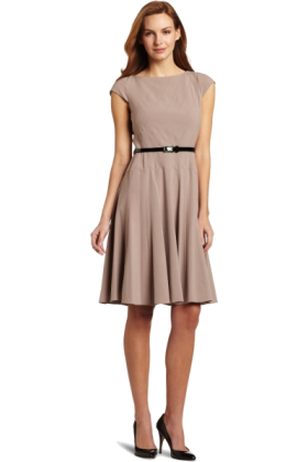 AK Anne Klein Dresses -  AK Anne Klein Women's Diagonal Seam Bi-Stretch Dress With Full Skirt Froth