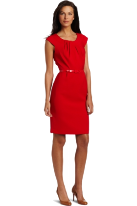 AK Anne Klein Dresses -  AK Anne Klein Women's Double Weave Dress Red Poppy