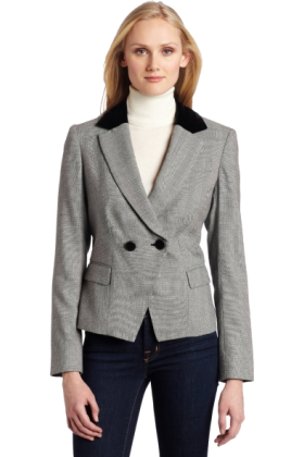 AK Anne Klein Jacket - coats -  AK Anne Klein Women's Herringbone 2 Button Blazer Black/Sugar
