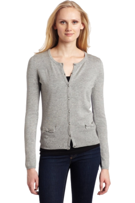 AK Anne Klein Swetry na guziki -  AK Anne Klein Women's Long Sleeve Crew Neck Cardigan with Bow Detail Light Charcoal