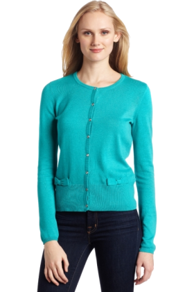AK Anne Klein Cardigan -  AK Anne Klein Women's Long Sleeve Crew Neck Cardigan with Bow Detail deep sea