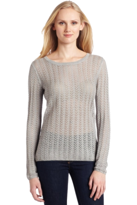 AK Anne Klein Long sleeves shirts -  AK Anne Klein Women's Long Sleeve Pointelle Crew Neck Top Silver
