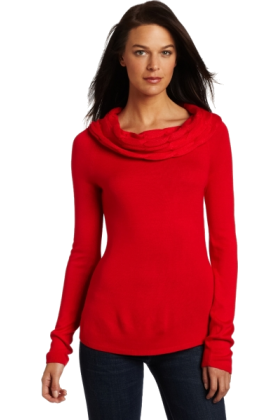 AK Anne Klein Long sleeves shirts -  AK Anne Klein Women's Longsleeve Cable Drape Neck Sweater Red Poppy