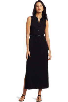 AK Anne Klein Dresses -  AK Anne Klein Women's Maxi Shirt Dress Black
