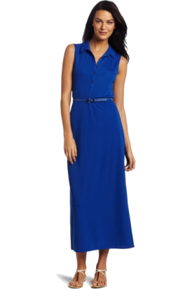 AK Anne Klein Dresses -  AK Anne Klein Women's Maxi Shirt Dress Cobalt