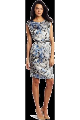 AK Anne Klein Dresses -  AK Anne Klein Women's Modern Camouflage Print Dress Cobalt Multi