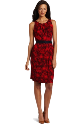 AK Anne Klein Dresses -  AK Anne Klein Women's Multi Print Sleeveless Belted Dress Red Poppy