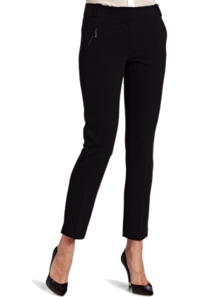 AK Anne Klein Pants -  AK Anne Klein Women's Pant With Zipper Details Black
