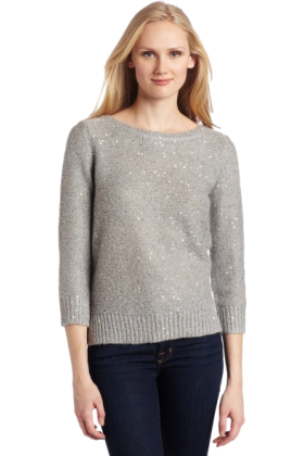 AK Anne Klein Swetry -  AK Anne Klein Women's Petite 3/4 Sleeve Sequin Boat Neck Pullover Light Charcoal