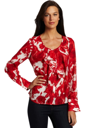AK Anne Klein Long sleeves shirts -  AK Anne Klein Women's Petite Abstract Rose Print Longsleeve Blouse Multi