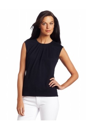 AK Anne Klein Pullovers -  AK Anne Klein Women's Petite Extended Shoulder Pleated Crew Neck Pullover Midnight Sky