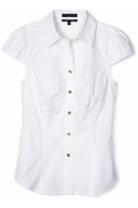 AK Anne Klein Shirts -  AK Anne Klein Women's Petite Short Sleeve Button Down Shirt White