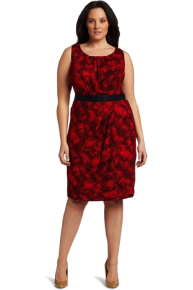 AK Anne Klein Kleider -  AK Anne Klein Women's Plus Size Multi Print Sleeveless Belted Dress Red Poppy