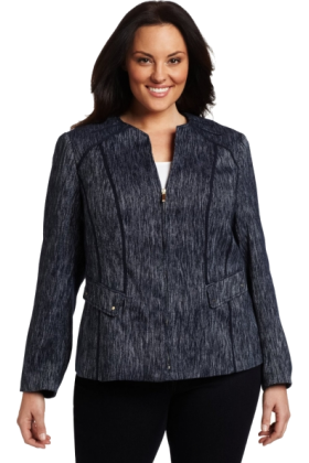 AK Anne Klein Jacket - coats -  AK Anne Klein Women's Plus Size Slubby Zip Front Jewel Neck Jacket Midnight Sky