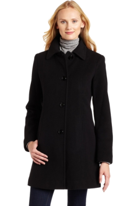AK Anne Klein Jacket - coats -  AK Anne Klein Women's Single-Breasted Wool Coat Black