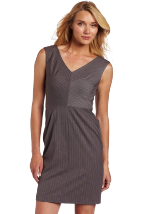 AK Anne Klein Dresses -  AK Anne Klein Women's Sky Pinstripe V-Neck Dress Gray