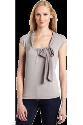 AK Anne Klein Pullovers -  AK Anne Klein Women's Sleeveless Tie Neck Pullover Silver