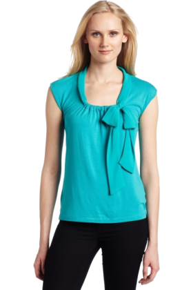 AK Anne Klein Pullovers -  AK Anne Klein Women's Sleeveless Tie Neck Pullover deep sea