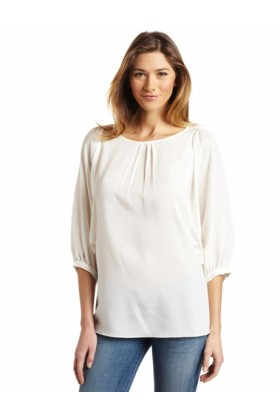 AK Anne Klein Long sleeves shirts -  AK Anne Klein Women's Solid Longsleeve Blouse sugar