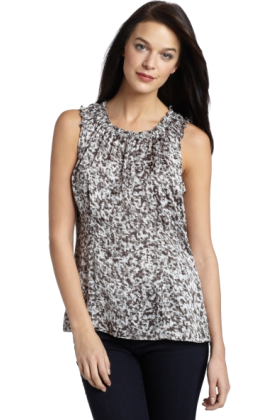 AK Anne Klein Shirts -  AK Anne Klein Women's Speckle Print Sleeveless Blouse Black Combo