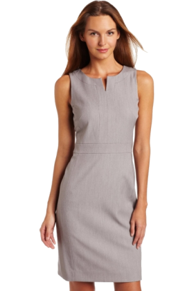 AK Anne Klein Dresses -  AK Anne Klein Women's Split Neck Shift Dress Pale Grey Heather
