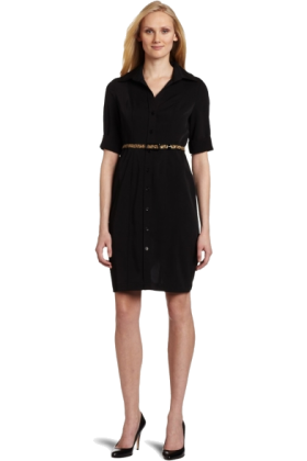 AK Anne Klein Dresses -  AK Anne Klein Women's Stretch Micro Weave Shirt Dress With Belt Black