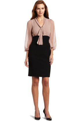 AK Anne Klein Dresses -  AK Anne Klein Women's Tie Neck Twofer Dress Black