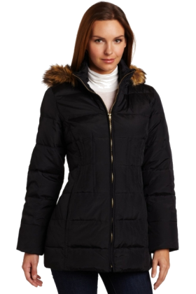 AK Anne Klein Jacket - coats -  Ak Anne Klein Women's 3/4 Sleeve Hooded Down Coat Black