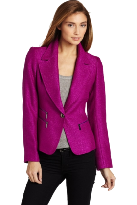 AK Anne Klein Jacket - coats -  Ak Anne Klein Women's Petite 1 Button Blazer Raisin