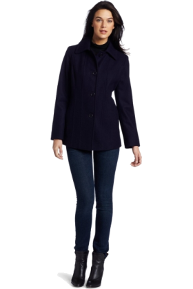 AK Anne Klein Jacket - coats -  Ak Anne Klein Women's Single-Breasted Wool Coat Purple