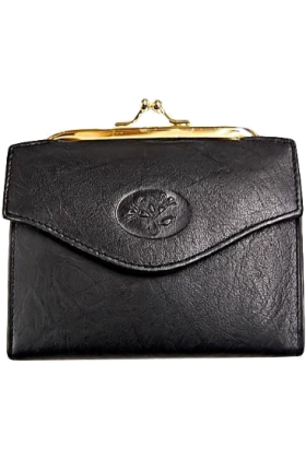 Buxton Clutch bags -  Black Leather French Purse W/ Accordion Card Case