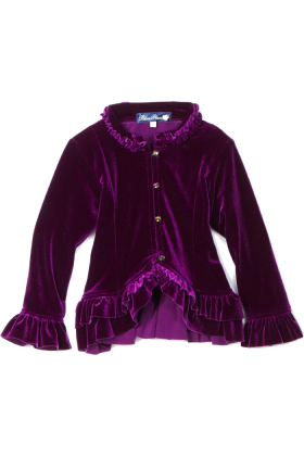 Amazon.com Jacket - coats -  Blue Pearl Girls 2-6x Stretch Velour Ruffle Jacket Purple
