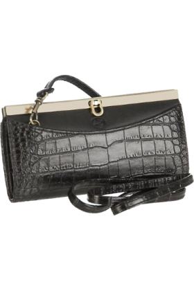 Buxton Clutch bags -  Buxton Croco Framed Clutch BLACK