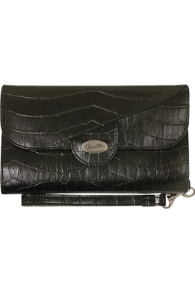 Buxton Torbe s kopom -  Buxton Stella Croco Framed Strap Clutch Black